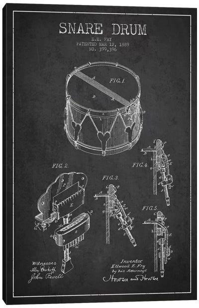 Snare Drum Charcoal Patent Blueprint Canvas Art Print