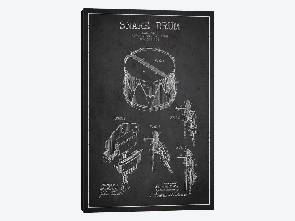 Snare Drum Charcoal Patent Blueprint by Aged Pixel 1-piece Canvas Wall Art