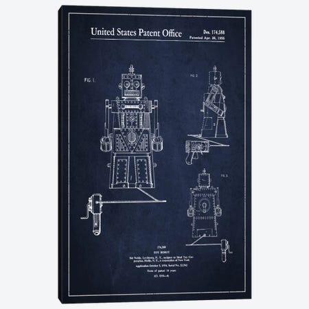 Toy Robot Navy Blue Patent Blueprint Canvas Print #ADP98} by Aged Pixel Canvas Art Print