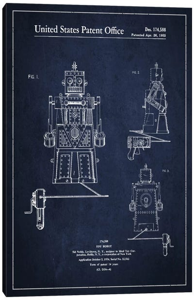 Toy Robot Navy Blue Patent Blueprint Canvas Art Print