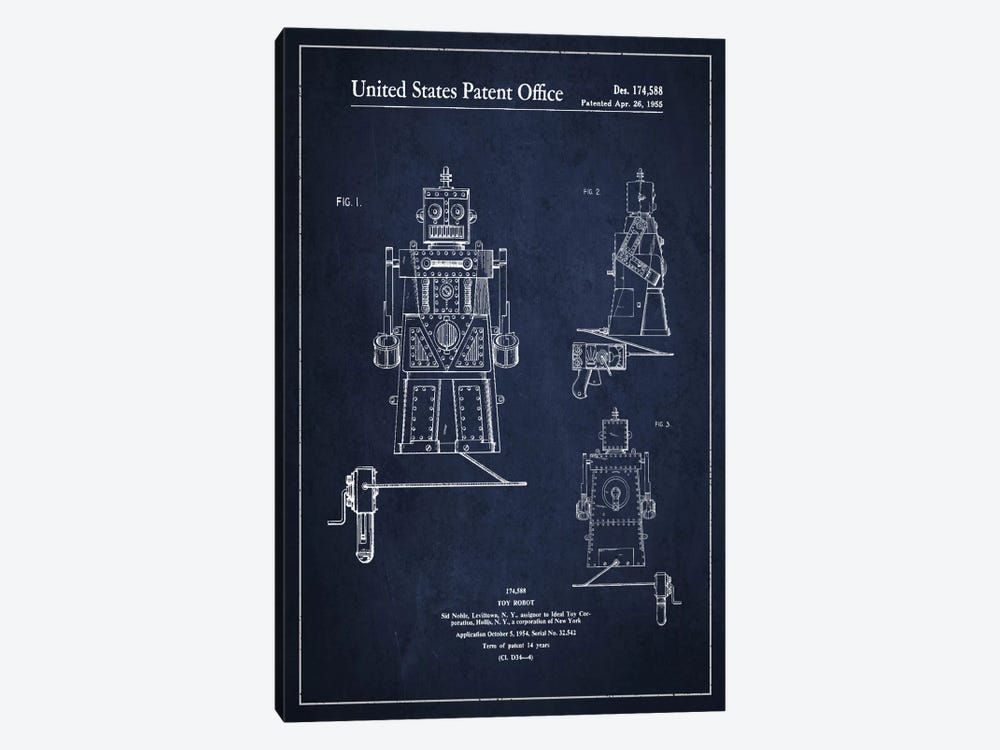 Toy Robot Navy Blue Patent Blueprint by Aged Pixel 1-piece Canvas Art