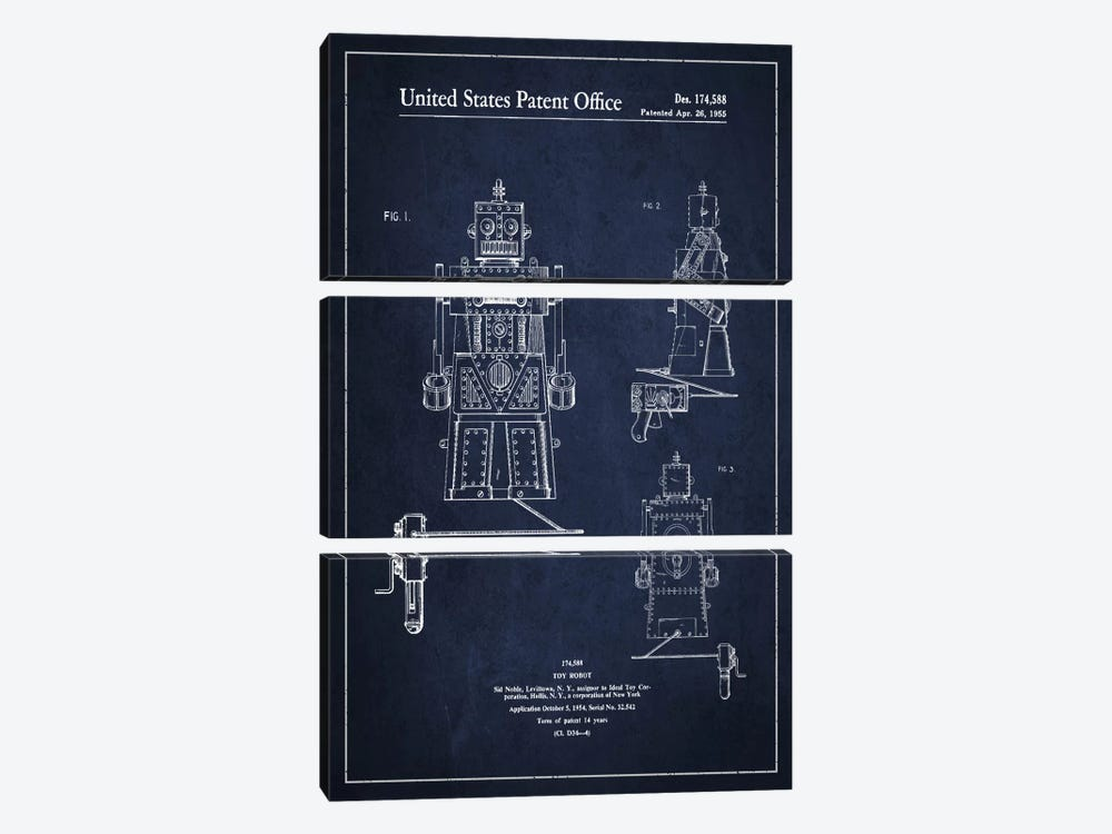 Toy Robot Navy Blue Patent Blueprint by Aged Pixel 3-piece Canvas Artwork