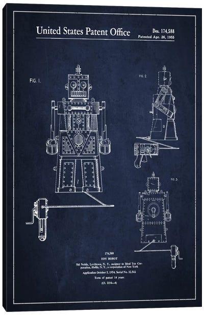 Toy Robot Navy Blue Patent Blueprint Canvas Art Print