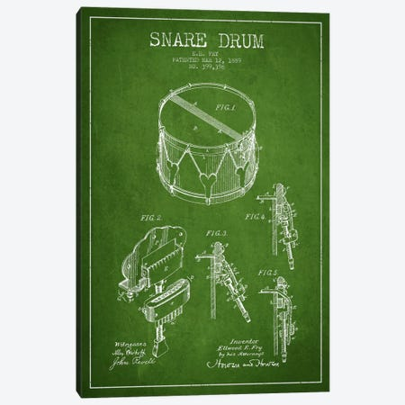 Snare Drum Green Patent Blueprint Canvas Print #ADP990} by Aged Pixel Canvas Print