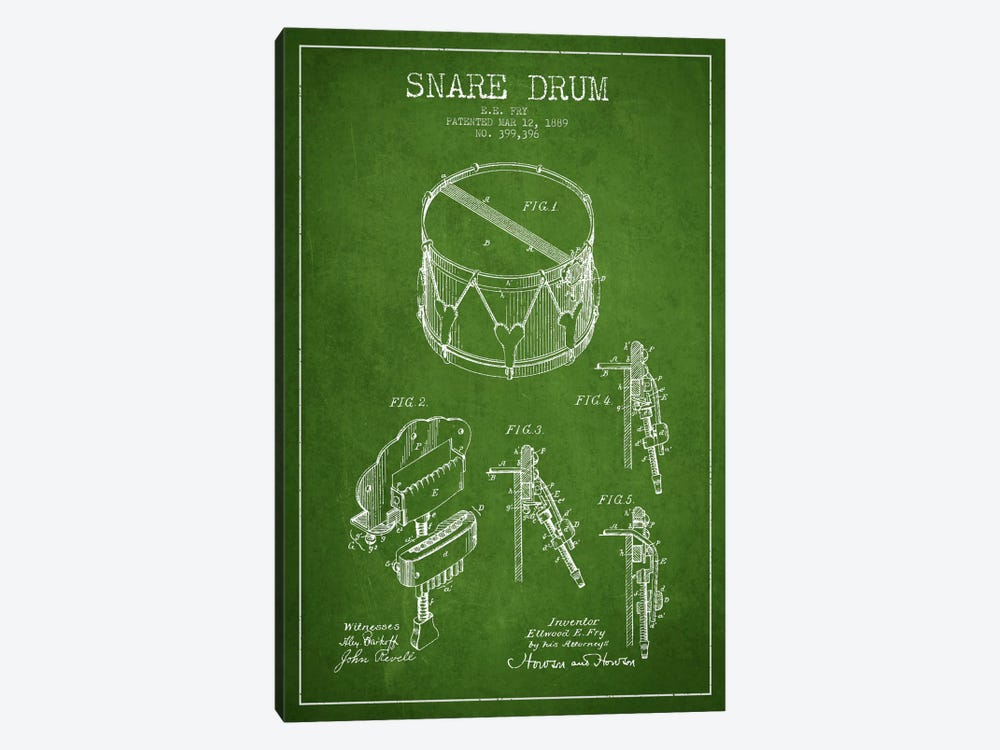 Snare Drum Green Patent Blueprint by Aged Pixel 1-piece Canvas Art