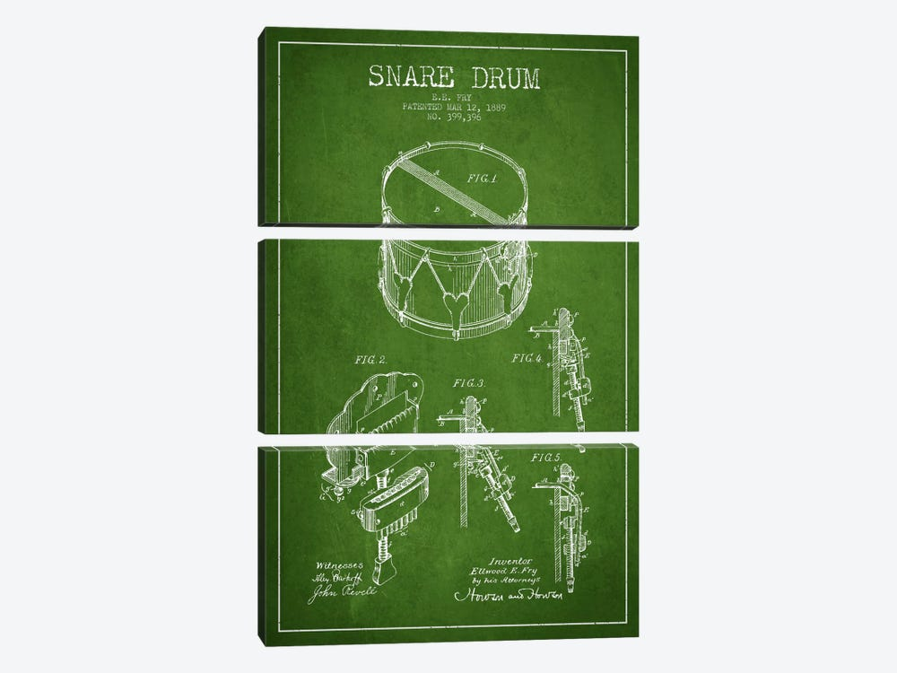Snare Drum Green Patent Blueprint by Aged Pixel 3-piece Canvas Wall Art