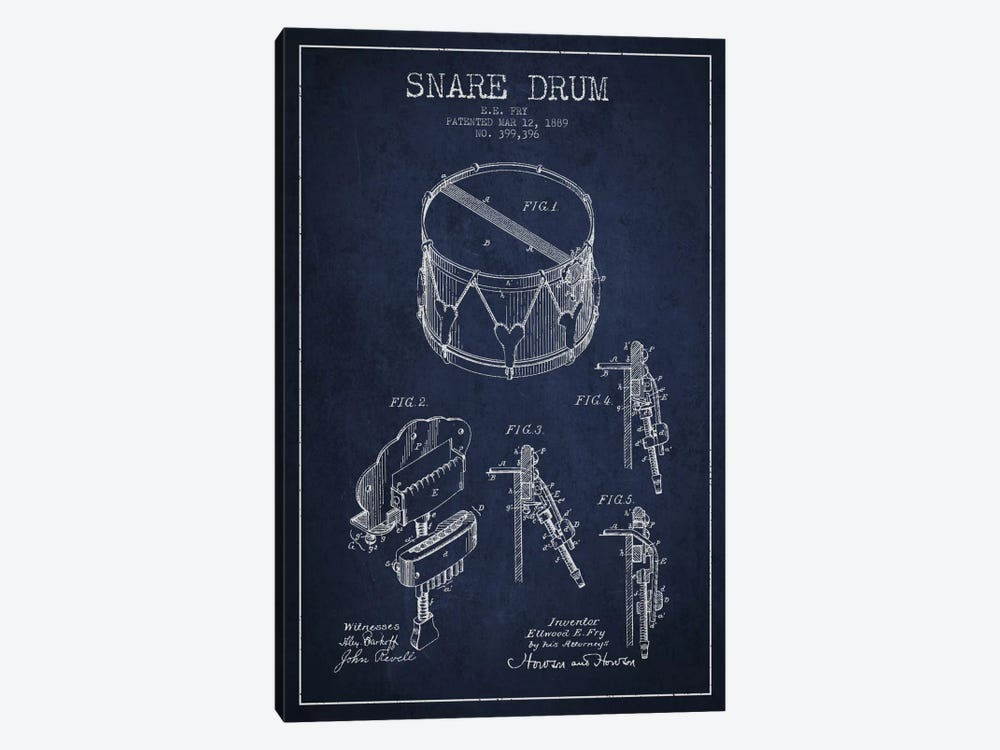 Snare Drum Navy Blue Patent Blueprint by Aged Pixel 1-piece Canvas Print