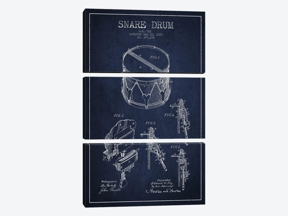 Snare Drum Navy Blue Patent Blueprint by Aged Pixel 3-piece Art Print