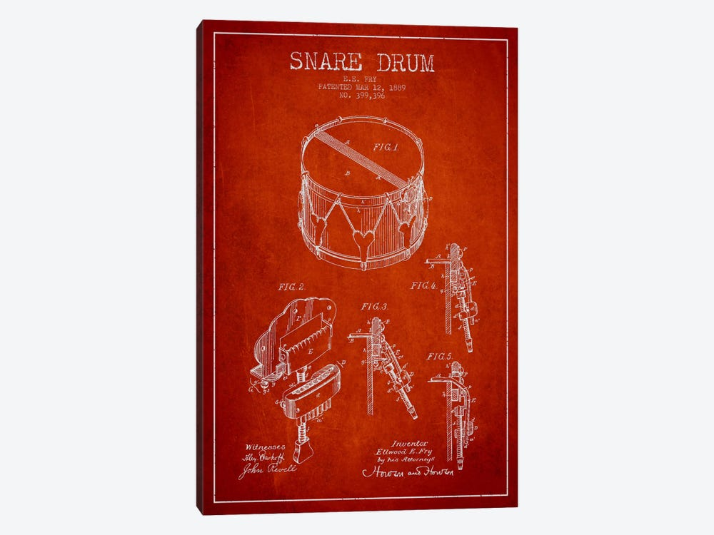 Snare Drum Red Patent Blueprint by Aged Pixel 1-piece Canvas Wall Art