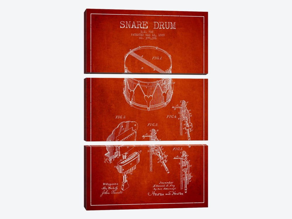 Snare Drum Red Patent Blueprint by Aged Pixel 3-piece Canvas Art