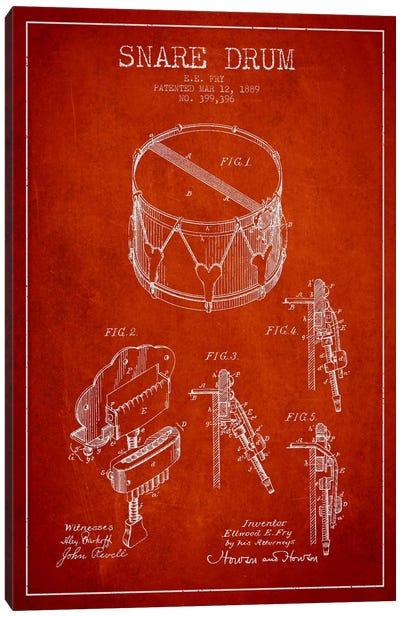 Snare Drum Red Patent Blueprint Canvas Art Print
