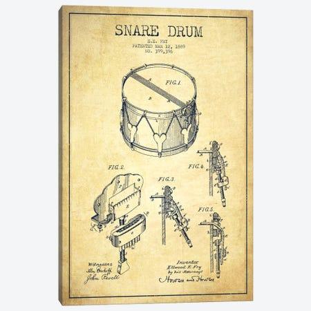 Snare Drum Vintage Patent Blueprint Canvas Print #ADP993} by Aged Pixel Art Print