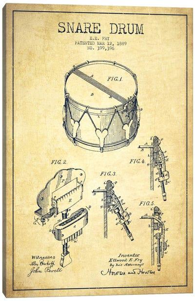 Snare Drum Vintage Patent Blueprint Canvas Art Print