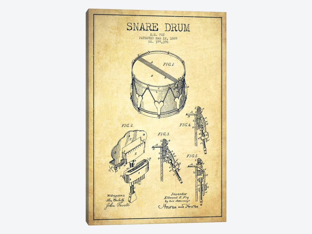 Snare Drum Vintage Patent Blueprint by Aged Pixel 1-piece Canvas Print