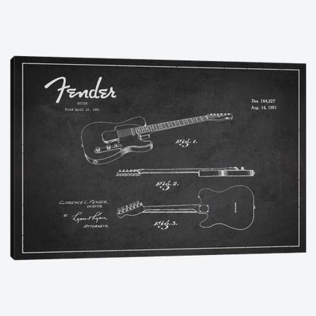 Fender Guitar Patent Blueprint Canvas Print #ADP994} by Aged Pixel Canvas Art