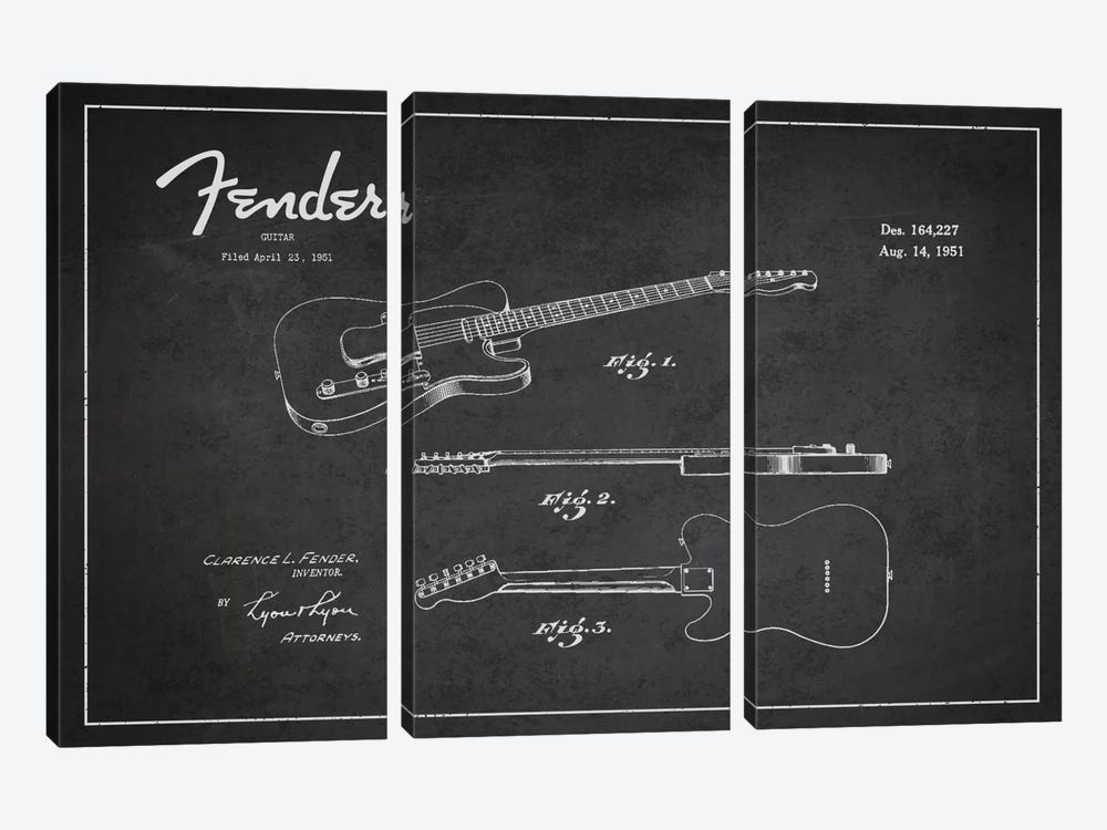 Fender Guitar Patent Blueprint by Aged Pixel 3-piece Canvas Artwork