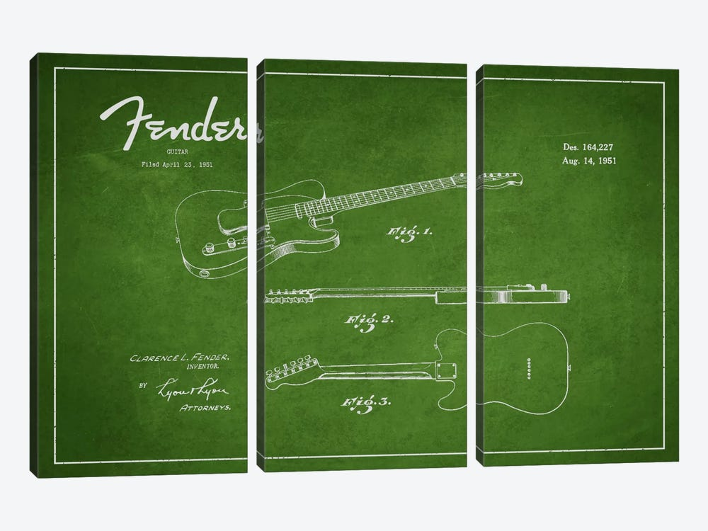 Fender Guitar Patent Blueprint by Aged Pixel 3-piece Canvas Art Print