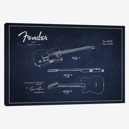 Fender Guitar Navy Blue Patent Blueprint Canvas Print #ADP996} by Aged Pixel Canvas Wall Art
