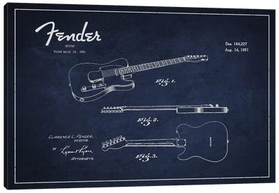 Fender Guitar Navy Blue Patent Blueprint Canvas Print #ADP996