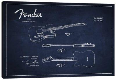 Fender Guitar Navy Blue Patent Blueprint Canvas Art Print