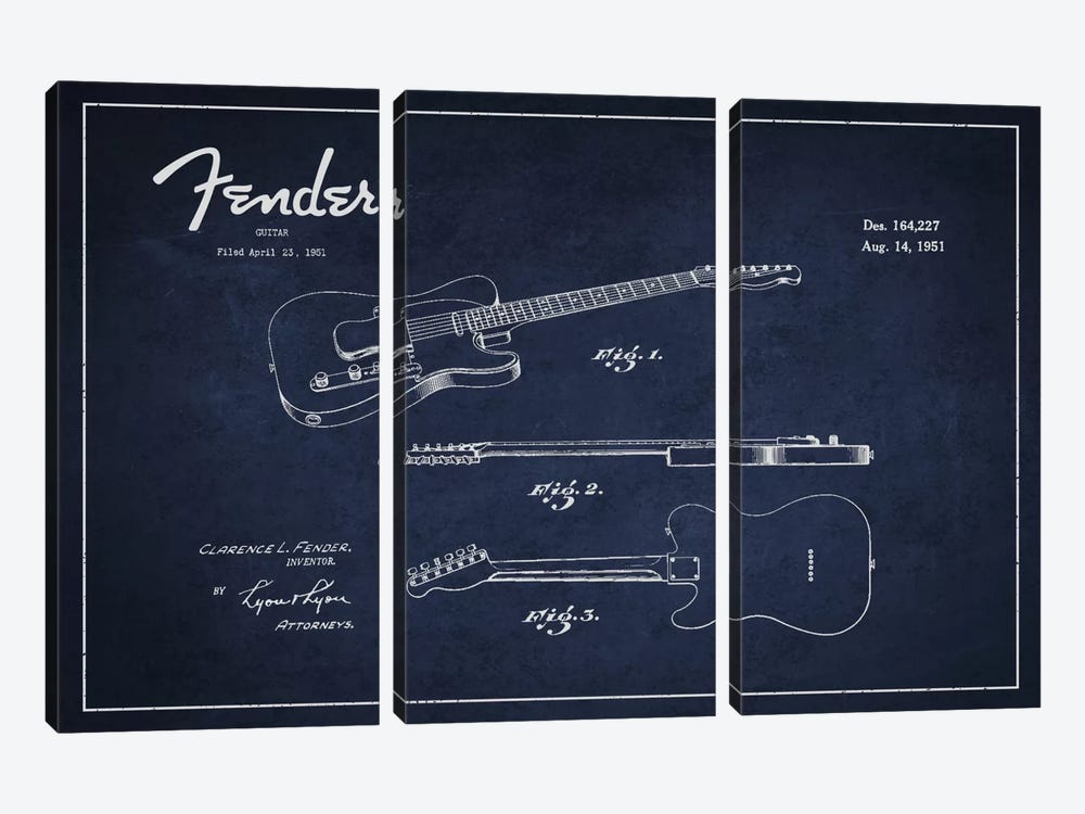 Fender Guitar Navy Blue Patent Blueprint by Aged Pixel 3-piece Canvas Artwork