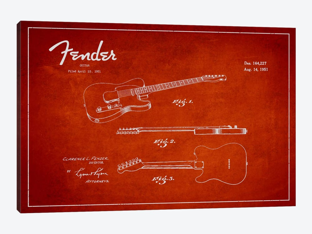 Fender Guitar Red Patent Blueprint by Aged Pixel 1-piece Art Print