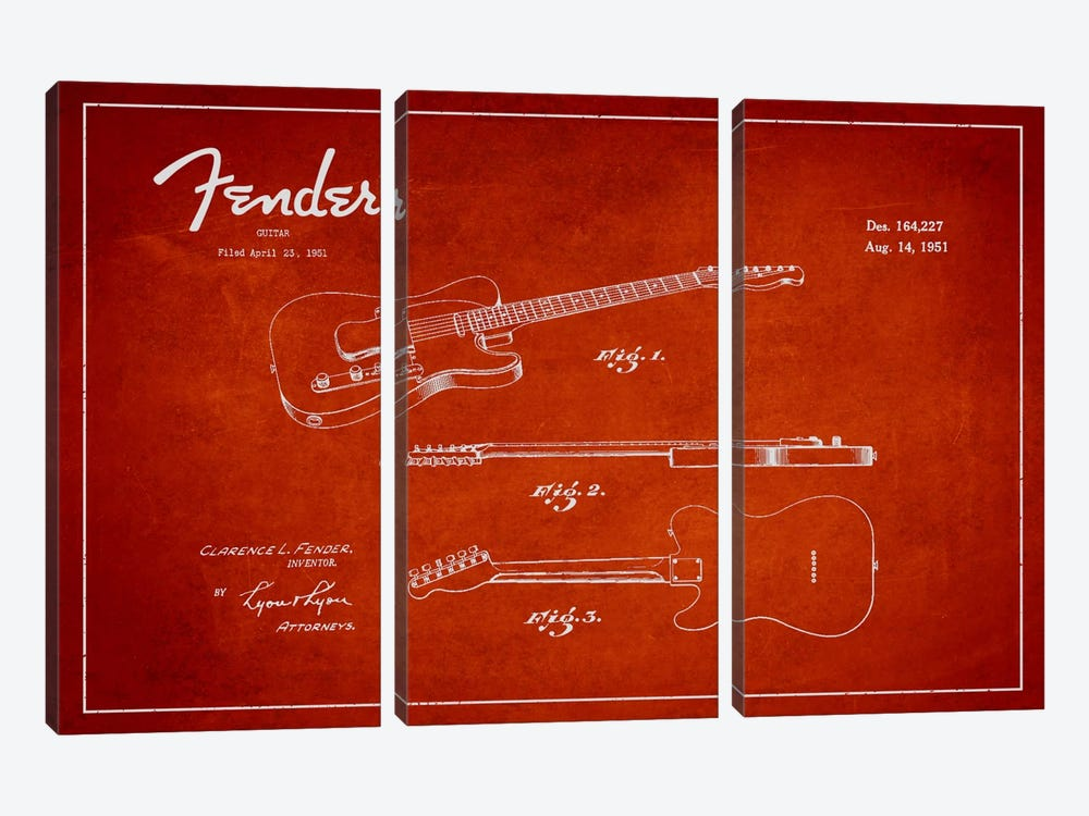 Fender Guitar Red Patent Blueprint by Aged Pixel 3-piece Canvas Print