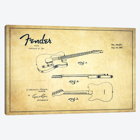 Fender Guitar Vintage Patent Blueprint Canvas Print #ADP998} by Aged Pixel Art Print