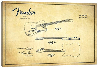 Fender Guitar Vintage Patent Blueprint Canvas Art Print