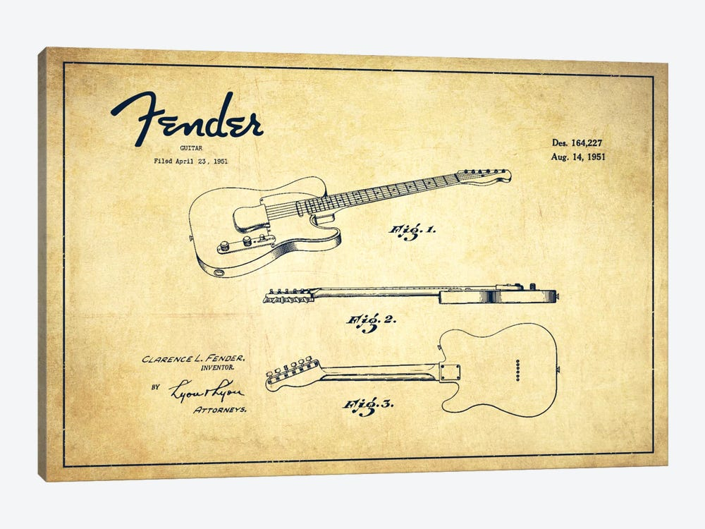 Fender Guitar Vintage Patent Blueprint by Aged Pixel 1-piece Canvas Artwork