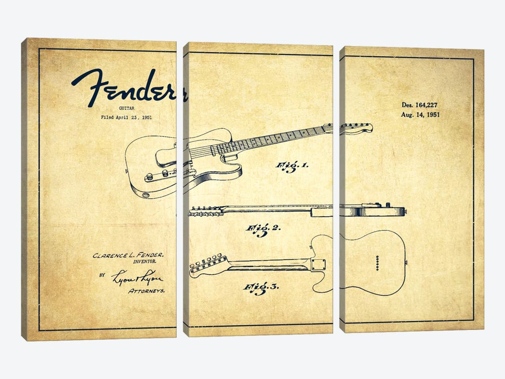 Fender Guitar Vintage Patent Blueprint by Aged Pixel 3-piece Canvas Art