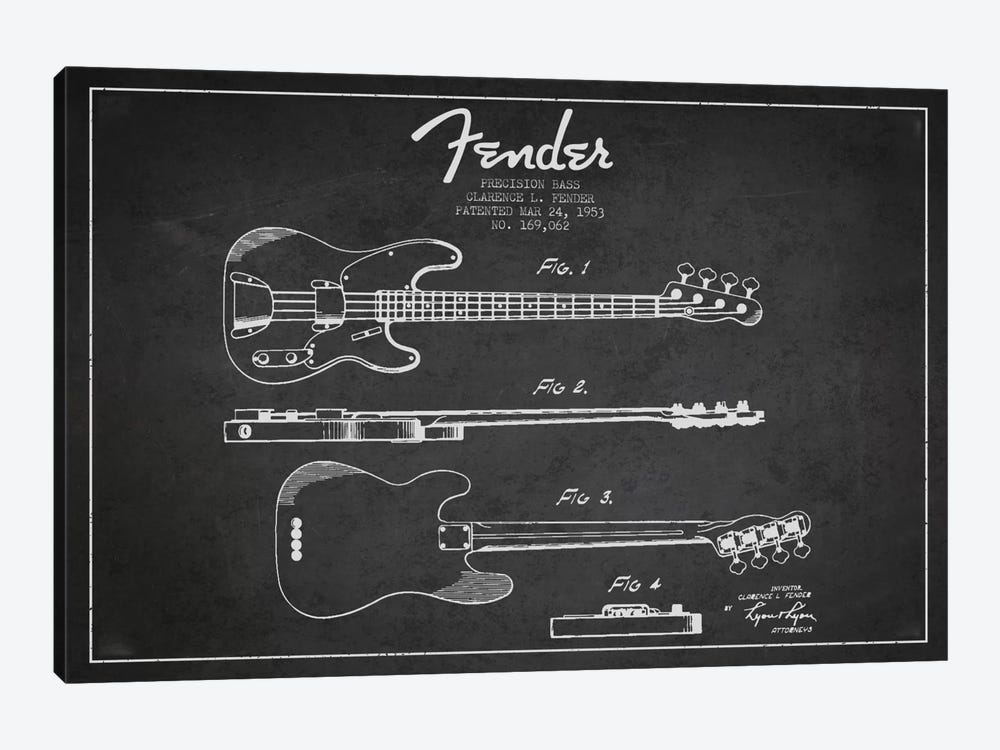 Fender Guitar Charcoal Patent Blueprint by Aged Pixel 1-piece Art Print