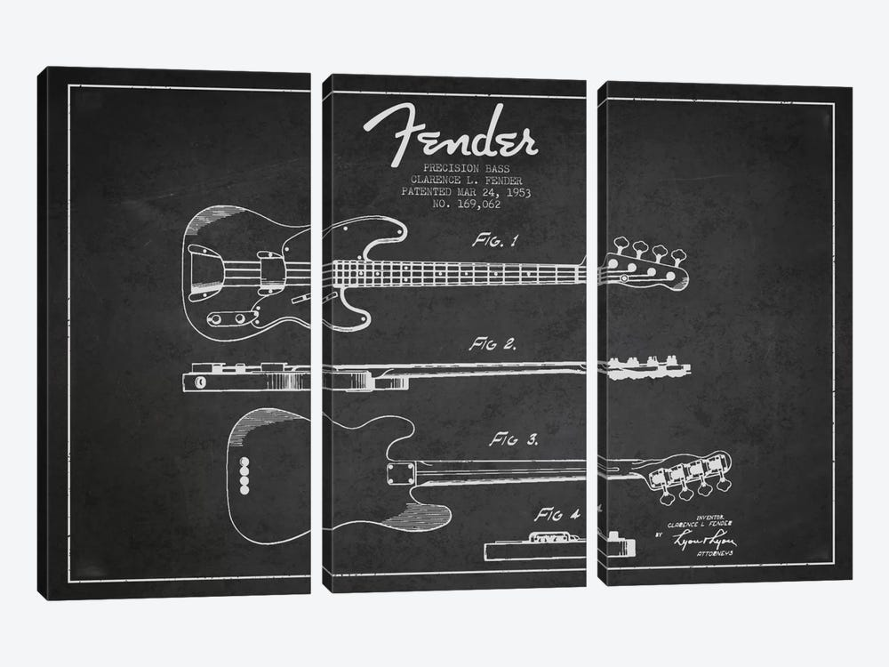 Fender Guitar Charcoal Patent Blueprint by Aged Pixel 3-piece Art Print
