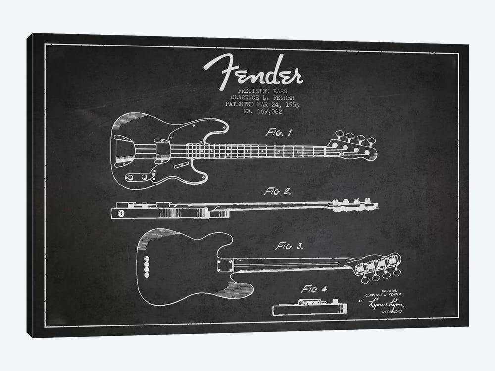 Fender Guitar Charcoal Patent Blueprint by Aged Pixel 1-piece Art Print