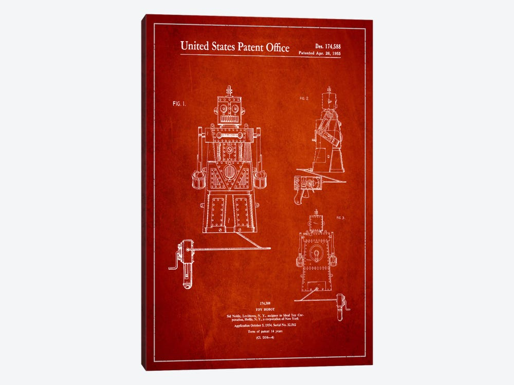 Toy Robot Red Patent Blueprint by Aged Pixel 1-piece Art Print