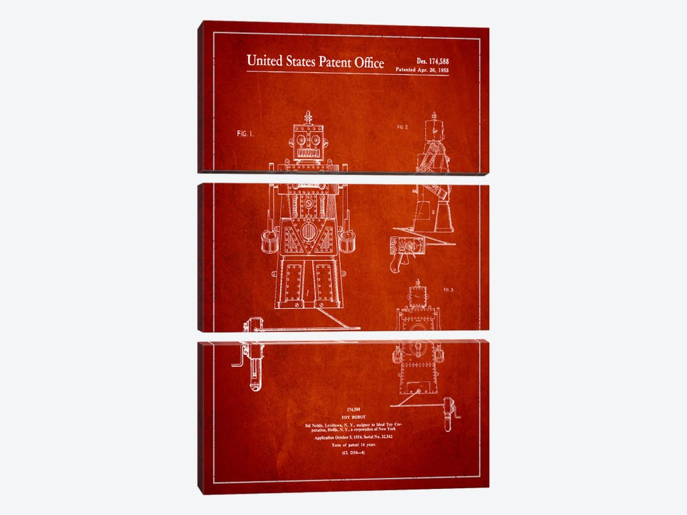 Toy Robot Red Patent Blueprint by Aged Pixel 3-piece Art Print