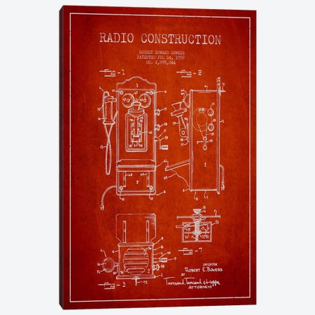 Bowers Radio Red Patent Blueprint Canvas Print #ADP9} by Aged Pixel Canvas Print