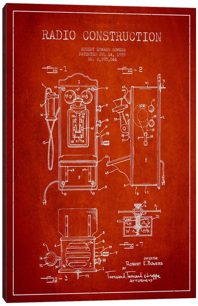 Bowers Radio Red Patent Blueprint Canvas Art Print