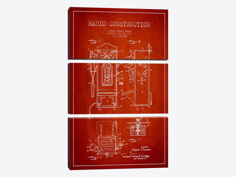 Bowers Radio Red Patent Blueprint by Aged Pixel 3-piece Canvas Print
