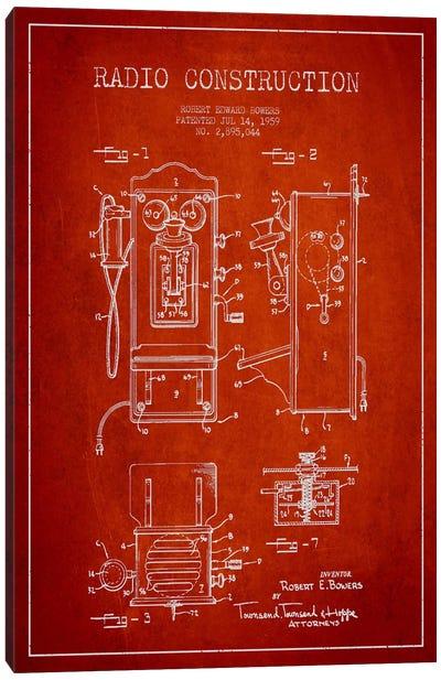 Bowers Radio Red Patent Blueprint Canvas Art Print