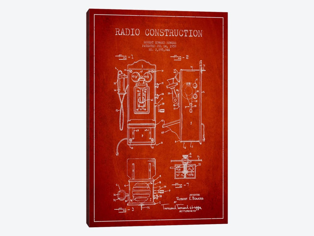 Bowers Radio Red Patent Blueprint by Aged Pixel 1-piece Art Print