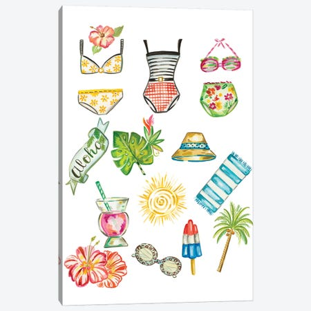 Beach Accessories Canvas Print #ADS1} by Ani Del Sol Canvas Wall Art