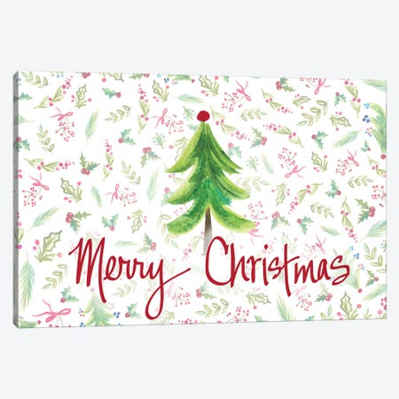 Merry Christmas Tree Canvas Print #ADS27} by Ani Del Sol Canvas Artwork