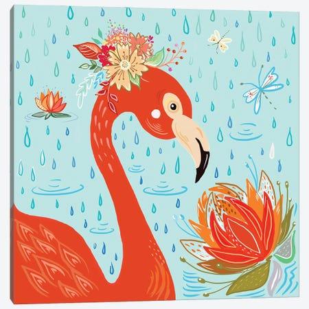 Flamingo in the Rain Canvas Print #ADS30} by Ani Del Sol Canvas Art