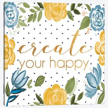Create your Happy Canvas Print #ADS3} by Ani Del Sol Canvas Artwork