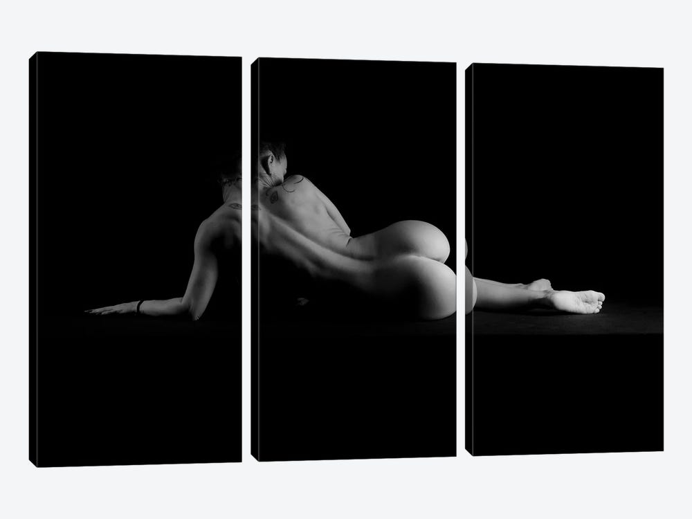 Nude Woman'S Naked Body Laying Down On Black And Whote by Alessandro Della Torre 3-piece Canvas Art