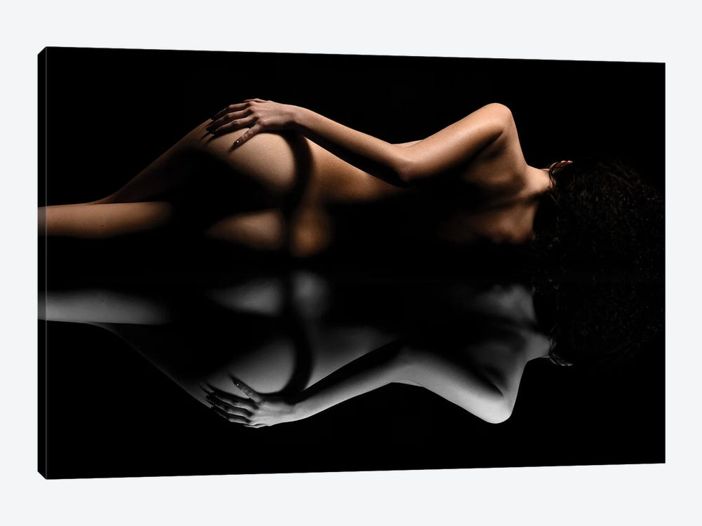 Nude Art Attractive Reflection Of Naked Woman Sexy Laying Down On Black I9 by Alessandro Della Torre 1-piece Canvas Art Print