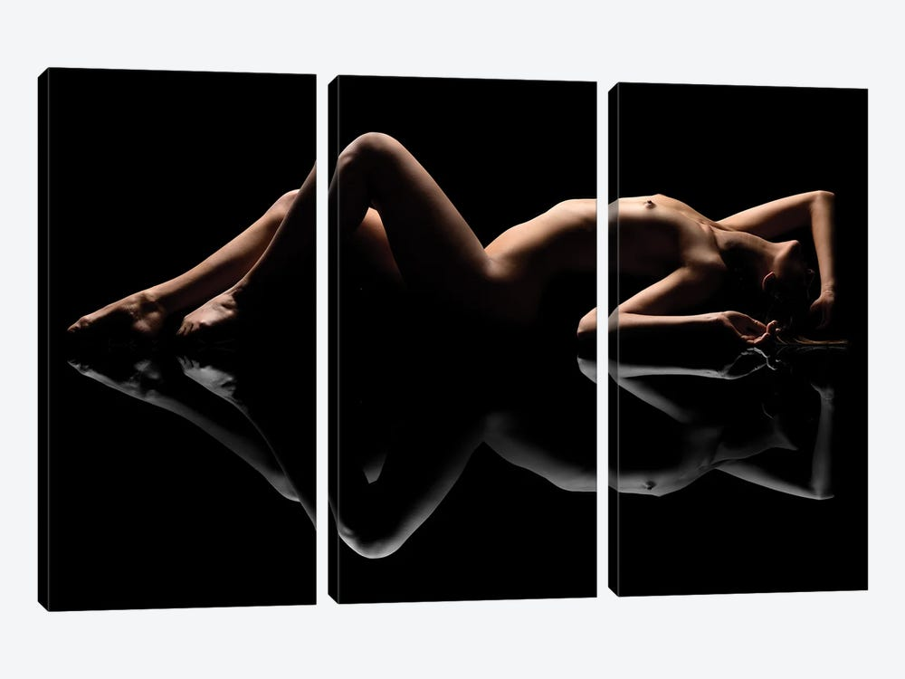 Nude Art Attractive Reflection Of Naked Woman Sexy Laying Down On Black XII by Alessandro Della Torre 3-piece Canvas Artwork