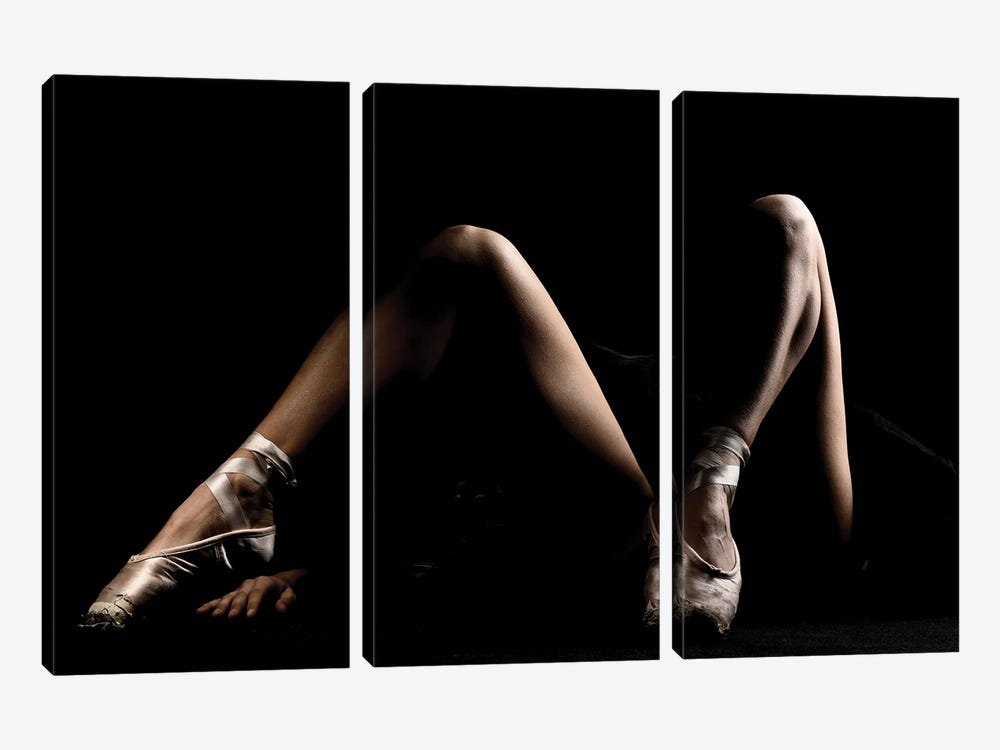 Naked Legs Of Nude Nallet Woman Ballerina Dancer With Shoes by Alessandro Della Torre 3-piece Canvas Wall Art