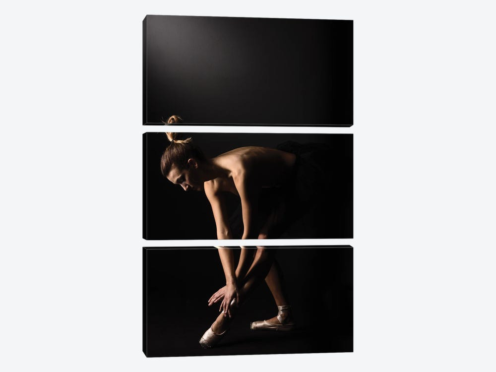 Nude Ballerina Ballet Dancer With Tutu Dress And Shoes by Alessandro Della Torre 3-piece Canvas Print